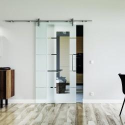 5 waagerechte Streifen mit Lichtausschnitt Glasschiebetür Edelstahlbeschlag mit offenen Laufrollen LEVIDOR