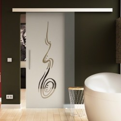 Glasschiebetür Handzeichnung-Design - Schiebe Tür Glas mit zeitlosem Streifen-Design