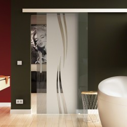Glasschiebetür Wellen-Design - Schiebe Tür Glas mit eleganten Klarglas-Streifen