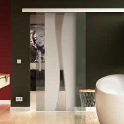 Glasschiebetür Berlin-Design - Schiebe Tür Glas mit eleganten Klarglas-Streifen