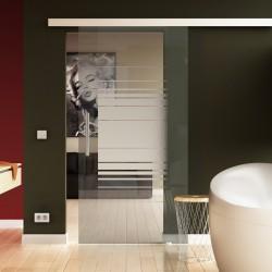 Glasschiebetür Horizont-Design - Schiebe Tür Glas mit eleganten Klarglas-Streifen