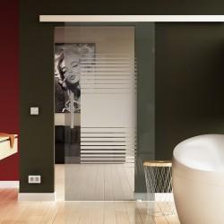 Glasschiebetür Lamellen-Design - Schiebe Tür Glas mit eleganten Klarglas-Streifen