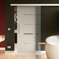 Glasschiebetür Streifen-Design mit Vollsatiniert - Schiebe Tür Glas