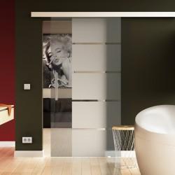 Glasschiebetür Streifen-Design mit Klarglas - Schiebe Tür Glas