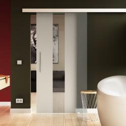 Glasschiebetür senkrecht Streifen-Design mit Klarglas - Schiebe Tür Glas