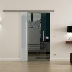 Levidor ProfiSlide SoftClose-Schiebetür Lamellen-Design mit Klarglas Links und Rechts