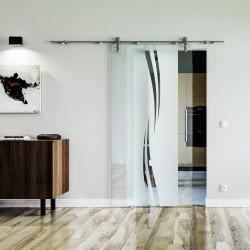 Wellen-Design (A) Glasschiebetür Edelstahlbeschlag mit offenen Laufrollen LEVIDOR und Klarglas Links und Rechts