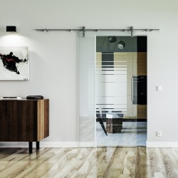 Design Horizont (H) Glasschiebetür Edelstahlbeschlag mit offenen Laufrollen LEVIDOR Klarglas Linls und Rechts