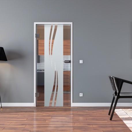 Ganzglastür Drehtür aus ESG-Glas in Wellen-Design mit Klarglas-Anteil für Studio Griff und Studio Bänder oder Studio / Office