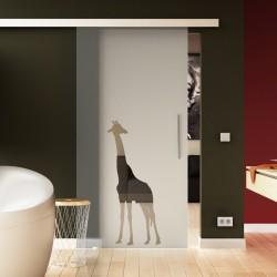 Glasschiebetür Sonderdesign Giraffen-Design Komplettset
