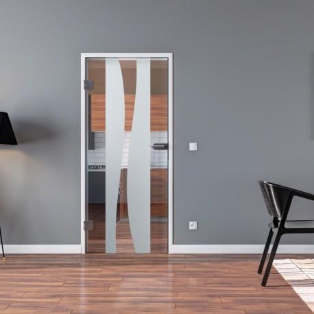 Ganzglastür Drehtür aus ESG-Glas in Berlin-Design mit Klarglas-Anteil für Studio Griff und Studio Bänder oder Studio / Office