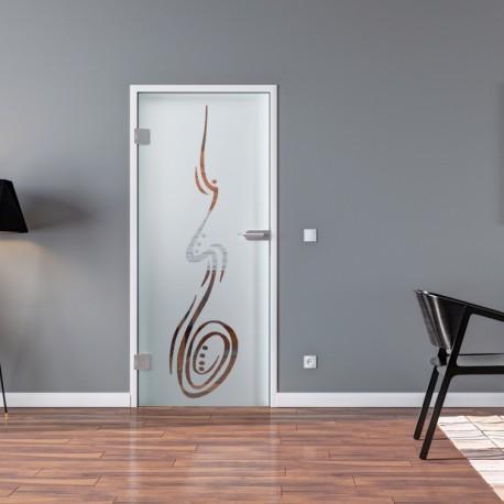 Ganzglastür Drehtür aus ESG-Glas in Freihand-Design für Studio Griff und Studio Bänder oder Studio / Office