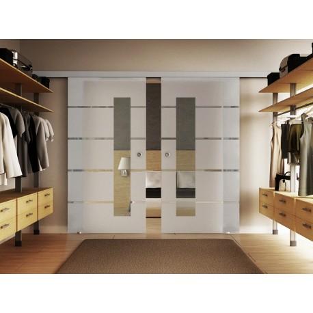 Glasschiebetür 5 Streifen Design mit Sichtfenster Basic-Beschlag Levidor / Glaslager.de 2 Scheiben
