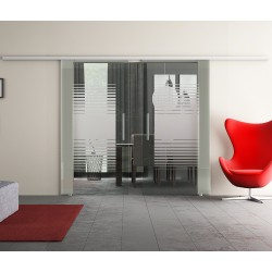 Dorma Muto 60 Glasschiebetür Lamellen-Design mit Klarglas (L2) 2 Scheiben