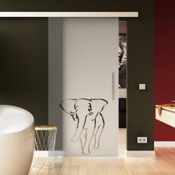 Glasschiebetür Basic-Beschlag Levidor / Glaslager.de Elefanten-Design