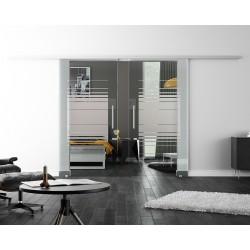 Levidor SoftClose-Schiebetür ProfiSlide Horizont-Design mit Klarglas (H2) 2 Glasscheiben
