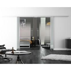 Levidor SoftClose-Schiebetür ProfiSlide Lamellen-Design mit Klarglas (L2) 2 Glasscheiben