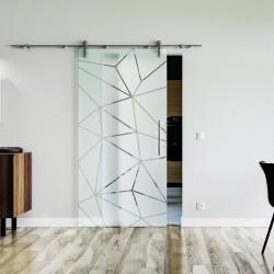 Design Origami (O) Glasschiebetür Edelstahlbeschlag mit offenen Laufrollen LEVIDOR