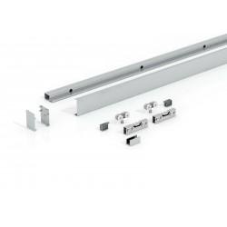 Levidor Slimline / Basic Glasschiebetür-Set 2-flügelig Aluminium, Länge ca. 4000 mm