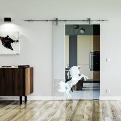 Einhorn Design Glasschiebetür Edelstahlbeschlag mit offenen Laufrollen LEVIDOR Klarglas-Scheibe mit satiniertem Einhorn