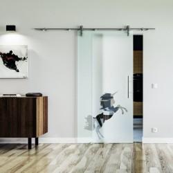 Einhorn Design Glasschiebetür Edelstahlbeschlag mit offenen Laufrollen LEVIDOR Vollsatiniert mit Klarteil