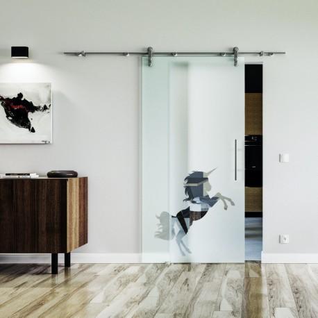 Einhorn Design Glasschiebetür Edelstahlbeschlag mit offenen Laufrollen LEVIDOR Klarglas-Bereich im Griffbereich