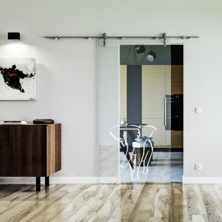 Elefant Design Glasschiebetür Edelstahlbeschlag mit offenen Laufrollen LEVIDOR Klarglas-Scheibe mit satiniertem Einhorn