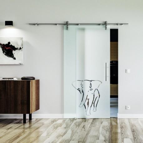 Elefant Design Glasschiebetür Edelstahlbeschlag mit offenen Laufrollen LEVIDOR Vollsatiniert mit Klarteil