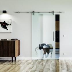 Elefanten Design Glasschiebetür Edelstahlbeschlag mit offenen Laufrollen LEVIDOR Vollsatiniert mit Klarteil