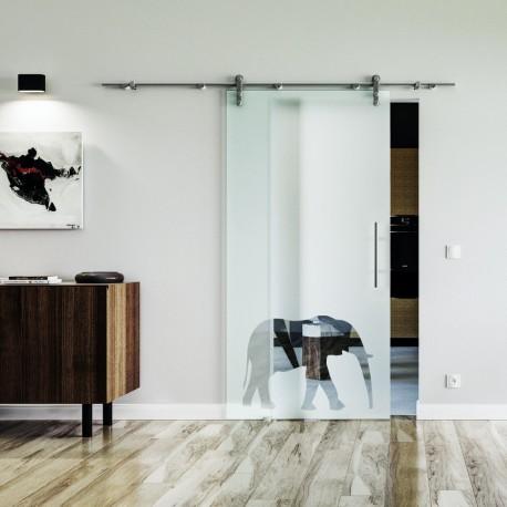 Elefanten Design (3) Glasschiebetür Edelstahlbeschlag mit offenen Laufrollen LEVIDOR Vollsatiniert mit Klarteil