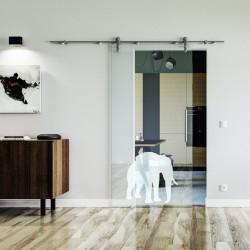 Elefanten Design (4) Glasschiebetür Edelstahlbeschlag mit offenen Laufrollen LEVIDOR Klarglas-Scheibe mit satiniertem Elefanten