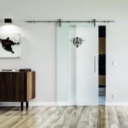 Emblem Design (2) Glasschiebetür Edelstahlbeschlag mit offenen Laufrollen LEVIDOR Satinierte Scheibe mit klarem Emblem