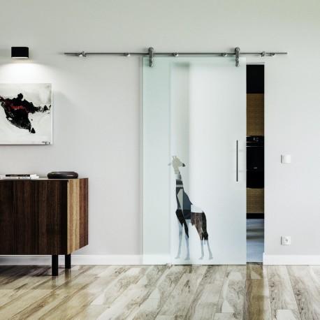 Giraffe Design Glasschiebetür Edelstahlbeschlag mit offenen Laufrollen LEVIDOR Vollsatiniert mit Klarteil