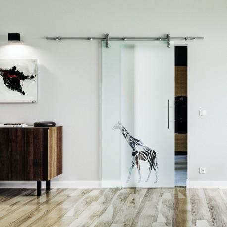 Giraffe Design (3) Glasschiebetür Edelstahlbeschlag mit offenen Laufrollen LEVIDOR Vollsatiniert mit Klarteil