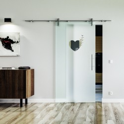 Herz Design Glasschiebetür Edelstahlbeschlag mit offenen Laufrollen LEVIDOR Satinierte Scheibe mit klarem Herz
