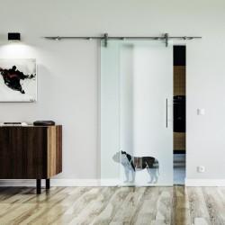 Hund Design Glasschiebetür Edelstahlbeschlag mit offenen Laufrollen LEVIDOR Vollsatiniert mit Klarteil
