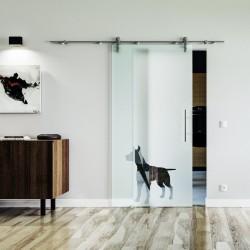 Hund Design (2) Glasschiebetür Edelstahlbeschlag mit offenen Laufrollen LEVIDOR Vollsatiniert mit Klarteil