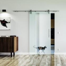 Katze Design Glasschiebetür Edelstahlbeschlag mit offenen Laufrollen LEVIDOR Vollsatiniert mit Klarteil