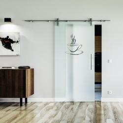 Küchen Design Glasschiebetür Edelstahlbeschlag mit offenen Laufrollen LEVIDOR Satinierte Scheibe mit klarer Tasse