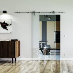 Nashorn Design Glasschiebetür Edelstahlbeschlag mit offenen Laufrollen LEVIDOR Klarglas-Scheibe mit satinierterm Nashorn