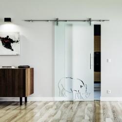 Nashorn Design Glasschiebetür Edelstahlbeschlag mit offenen Laufrollen LEVIDOR Vollsatiniert mit Klarteil