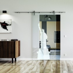 New York Design Glasschiebetür Edelstahlbeschlag mit offenen Laufrollen LEVIDOR Klarglas-Scheibe mit satinierter Figur