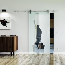 New York Design Glasschiebetür Edelstahlbeschlag mit offenen Laufrollen LEVIDOR Satinierte Scheibe mit klarer Figur