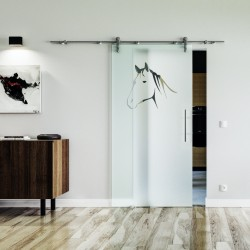 Pferd Design Glasschiebetür Edelstahlbeschlag mit offenen Laufrollen LEVIDOR Vollsatiniert mit Pferdekopf