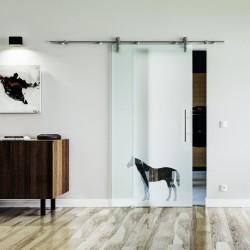 Pferd Design Glasschiebetür Edelstahlbeschlag mit offenen Laufrollen LEVIDOR Vollsatiniert mit Pferd