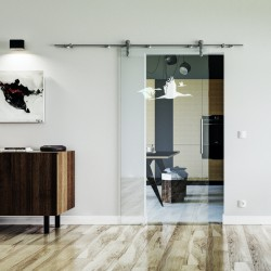 Schwan Design Glasschiebetür Edelstahlbeschlag mit offenen Laufrollen LEVIDOR Klarglas-Scheibe mit satinierten Vögeln