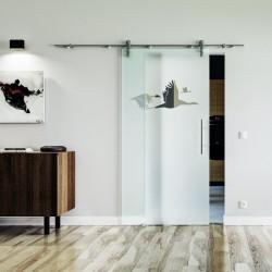 Schwan Design Glasschiebetür Edelstahlbeschlag mit offenen Laufrollen LEVIDOR Vollsatiniert mit Vögeln