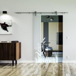 Wiesen Design Glasschiebetür Edelstahlbeschlag mit offenen Laufrollen LEVIDOR Klarglas-Scheibe mit satinierter Wiese