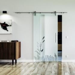 Wiesen Design Glasschiebetür Edelstahlbeschlag mit offenen Laufrollen LEVIDOR Satinierte Scheibe mit klarer Wiese