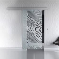 Schiebetür Glas Komplettset Softclose 1025 / 900 / 775 mm Breite geschwungene Streifen